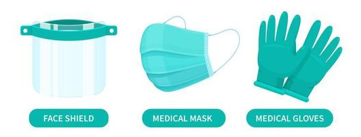 gelaatsscherm, medisch masker en rubberen handschoenen