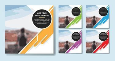moderne geometrische vorm sociale media flyer set