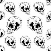 naadloze patroon met zijaanzicht van de schedel