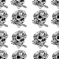 retro schedelhoofd met moersleutel in mondpatroon