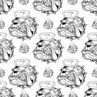 naadloze patroon met bulldog in hoed