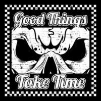 grunge-stijl schedel en slogan in geruit frame vector