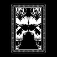 dubbele boze schedelgezichten in ornamentkader
