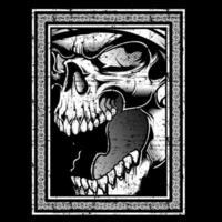 schedel hoofd grunge stijl boos brullen vector