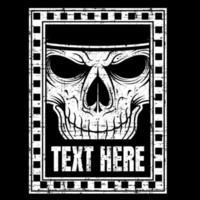 grunge eenvoudige schedel gezicht hand tekenen vector