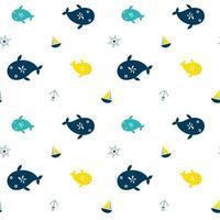 naadloze patroon met walvissen en scheepselementen