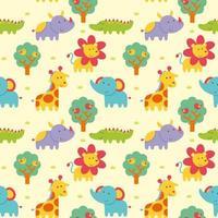 naadloze patroon met schattige wilde dieren