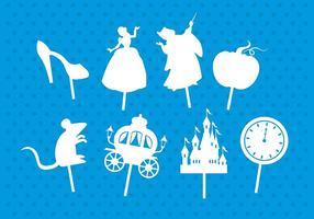Cinderella schaduwpoppen vector