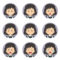 vrouwelijke huishoudster avatar met verschillende uitdrukkingen