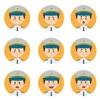 mannelijke piloot avatar met verschillende uitdrukkingen