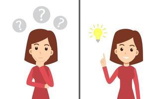 vrouw denken en man met een idee set