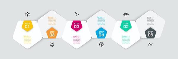 horizontale afgeronde zeshoek papier infographic