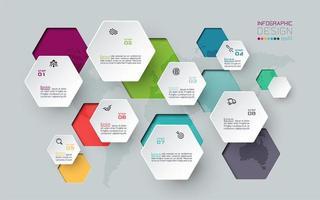 kleurrijke zwevende zeshoek inforgraphic