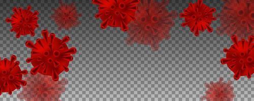 rode coronaviruscellen op transparant patroon vector