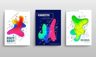 omslagsjablonen met geometrische en neonvloeiende vormen