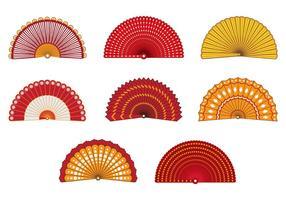 Set Van Kleurrijke Spaanse Ventilator Vector