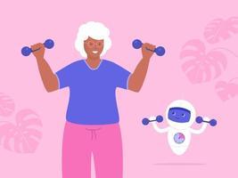 oudere vrouw en robot tillen halters vector