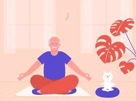 senior man met kat mediteren in lotus houding vector