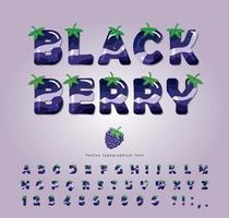 blackberry glanzende zomer lettertype vector