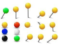 kaartspijkers of ronde push pins set vector