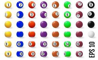 biljart-, pool- of snookerballen met getallen ingesteld vector