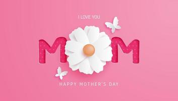 roze moeder typografie met bloem als letter o vector