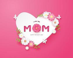 Moederdag poster met papierkunst hart en bloemen