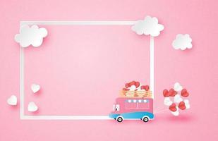 roze poster met lijst en rv trekkende hartballons
