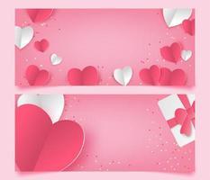 papier gesneden hart en cadeau liefde banners vector