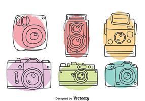 Hand getekende camera collectie vector