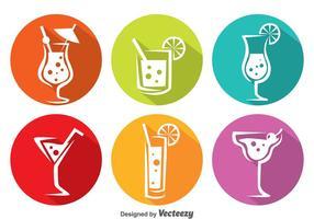 Kleurrijke Cocktail Circle Pictogrammen vector