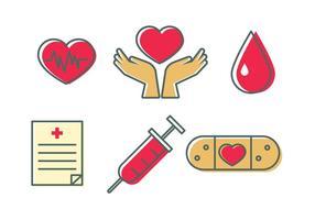 Pictogrammen voor het bloedstation