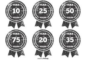 Grunge jubileum badges vector
