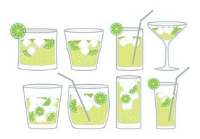 Caipirinha cocktail set vector