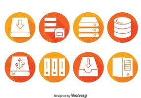 Pictogrammen voor serverrek cirkel