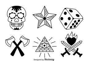 Zwarte Oude School Tattoo Vector