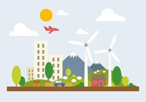 Gratis Groene Cityscape Vectorillustratie vector