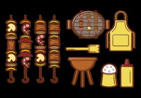 Brochette Kebab Skewers Pictogrammen Vector