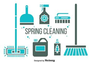 Vector illustratie van de lente schoonmaak pictogrammen