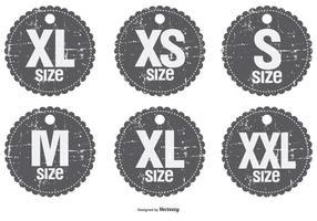 Grunge stijl grootte badges vector