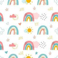 regenbogen en wolken naadloze achtergrond