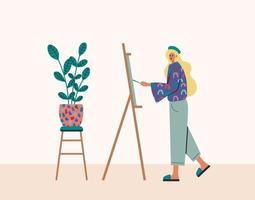 jonge vrouw schilderen op ezel thuis