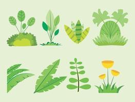 set van kleine planten met bloemen vector