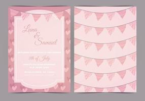 Pink Bunting Vector Wedding Uitnodigen