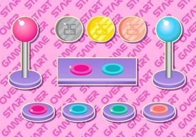 Arcade knop girly vector set