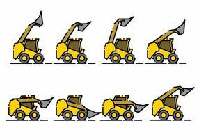 Minimalistische Skid Steer Icon Set vector