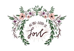 Liefde Bloemen Waterverf Vector