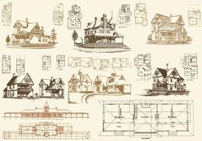 Vloerplannen En Huizen vector