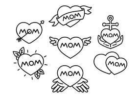 Mom Tattoo Illustratie vector