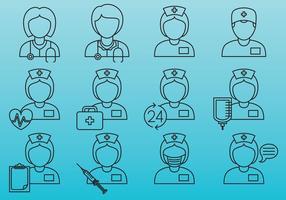 Verpleegster lijn iconen vector